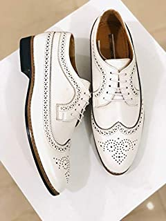 Bellissimo Caro Brogues Mens White Leather Shoes (Size-UK 9)