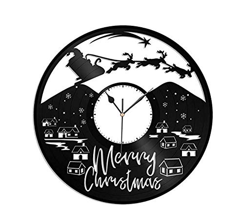 Ayzr Weihnachtssankt Vinyl Wanduhr Einzigartiges Design Geschenk Für Weihnachten Schwester Und Bruder Baby Kinder|Haus Und Kinderzimmer Dekoration
