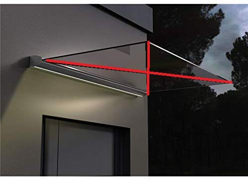 Marquesina LED de cristal, aluminio, para puerta de casa, para VSG 10,76 mm