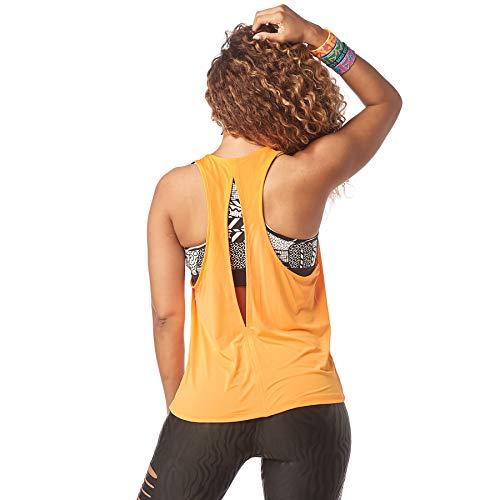 Zumba Camiseta de Entrenamiento Transpirable con Sexy Espalda Abierta para Mujer Grande Oh Naranja