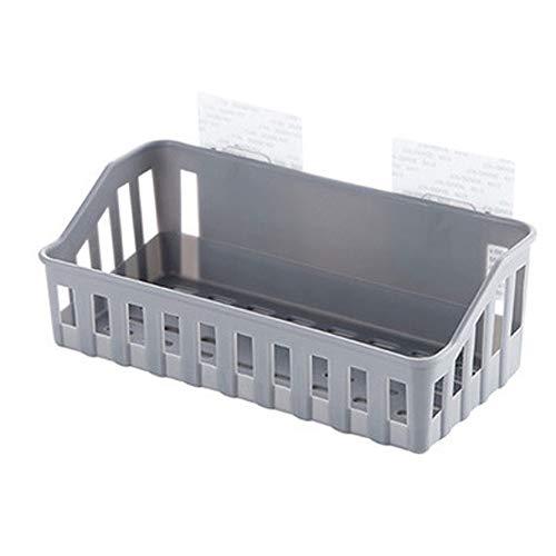LAZY CAT Estante de cocina con ventosa para baño, organizador de cosméticos, práctico estante de almacenamiento para colgar en la pared, cesta de almacenamiento (color: gris claro)