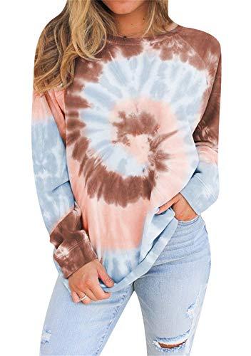 YMING Damen Farbverlauf Oberteil Lose Farbverlauf Sweatshirt Langarm Shirts Khaki XL
