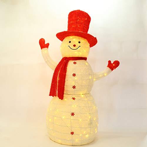 YANXS 80cm Weihnachten LED Schneemann Beleuchtet Deko Figur Auffällig Roter Schal Hoch Hut Handschuhe Warm Weiß Lichter Metall Eisen Rahmen Woollen für Innen Außen,Weiß