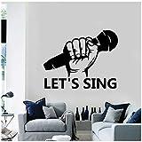 aobobaihuo Lassen Sie Uns Singen Wandtattoo Zitate Mikrofon Karaoke Ktv Interieur Musikalische Kunst Dekor Vinyl Fenster Glas Aufkleber Abnehmbares Wandbild 42 * 33Cm