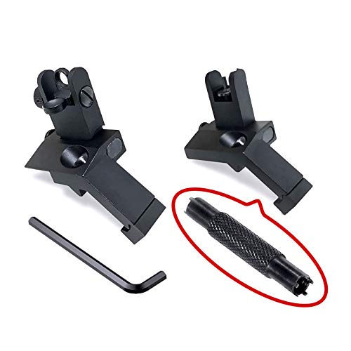 Bugleman Offset Flip Up Iron Sight Includes Dual Front Sight Adjustment Tool Front Rear Sight Compatible for Picatinny and Weaver Rail Black Foldable Iron Tactical Sights Mil Spec 1/2 MOA Elevation