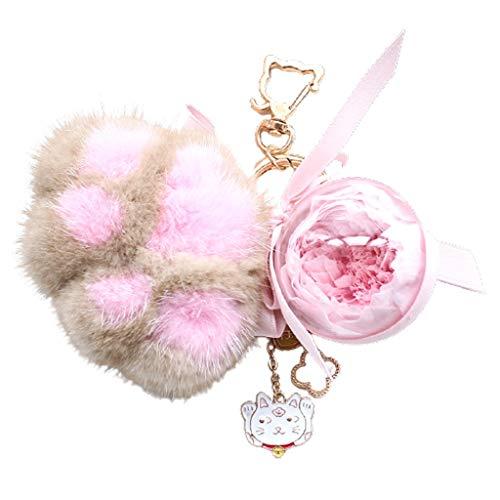 Caja de Regalo de la Flor de la Pata de Gato conservada con conservación Real Rose Girlfriend Girlfriend Día de San Valentín Navidad Llavero Regalo (Color : B)
