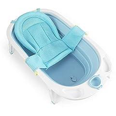 Fascol pliante baignoire pour bébé, baignoire pour enfants avec siège de sécurité et bouchon d'écoulement, baignoire longueur 82cm, 0-36 mois (bleu clair)