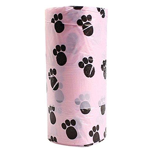 Bodhi2000 1 rollo/15 bolsas para mascotas cachorros perro bolsa de basura de desagüe degradable limpieza recoger bolsa de residuos (color: al azar)