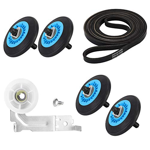 AMI PARTS Ultra Durable Dryer Repair Kit- DC97-16782A Dryer Roller, 6602-001655 Dryer Belt, DC93-00634A Dryer Idler Pulley [Upgraded Ball Bearings]