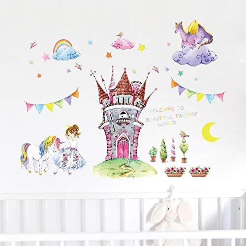 Pegatinas de pared para sala de estar Flores, Castillo de dibujos animados Guardería Niños ecológicos Pegatinas familiares Sala de estar Arte Murales de oficina Niños Calcomanías impermeables 91x105cm