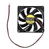 Ventilador Extractor UPC Ventilador DC 12V 0.18A 2 Conector de pin ORDENADOR PERSONAL Ventilador de enfriamiento de la caja 80x80 mm Ventilador de ventilación simple con cable de 10 pulgadas, negro Ex