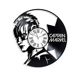 Kovides Captain Marvel Superhero Exclusive Decor for Nursery Unique Decoration Handmade Wall Sticker Marvel Comics Vintage Vinyl Record Clock Fathers Day Captain Marvel Wall Clock