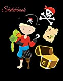 Sketchbook: A Cute One Hand Pirate Boy Skull Red Theme Large 8.5' X 11' Personalized Artist Sketch Book Notebook Workbook and Blank Paper for Drawing, ... Journal for Kids and Adults [Idioma Inglés]