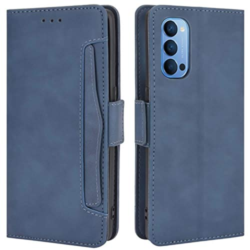 HualuBro Handyhülle für Oppo Reno 4 Pro 5G Hülle Leder, Flip Hülle Cover Stoßfest Klapphülle Handytasche Schutzhülle für Oppo Reno 4 Pro 5G Tasche (Blau)
