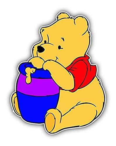 Winnie The Pooh Honey Cartoon - Sticker Graphic - Auto, Wall, Laptop, Cell, Truck Sticker for Windows, Cars, Trucks