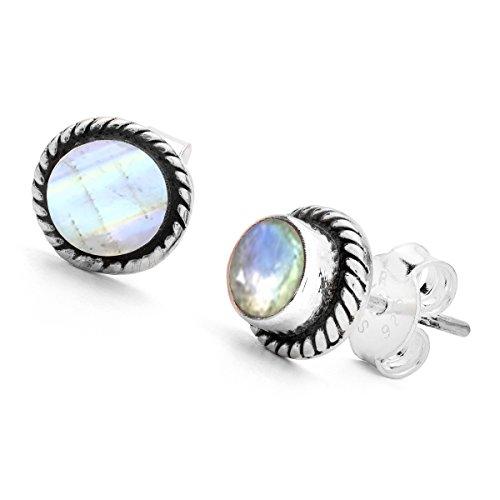 Unique Exklusive Jugendstil Ohrstecker 8mm Mondstein eingefasst in 925 Sterling Silber nickelfrei 2.2 Karat in Juweliers- Qualität