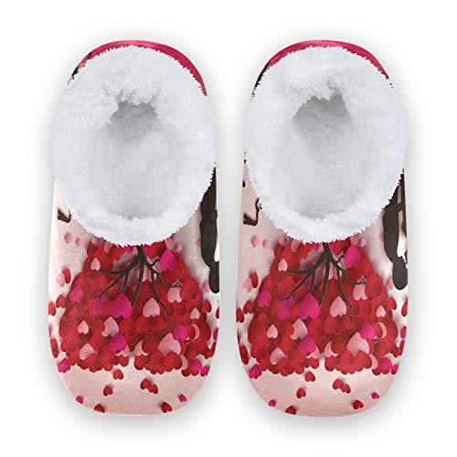 JNlover - Pantuflas para el día de San Valentín, con forma de corazón, para mujer, con parte trasera cerrada, forro polar, para interiores y exteriores, color, talla Medium