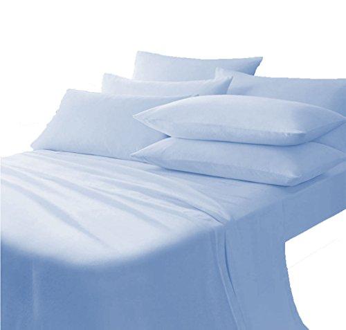 Scala Bedding 710 Thread Count 100% Egyptian Cotton Italian Finish Flat Sheet with Pillowcases Full XL Top Sheet Light Blue