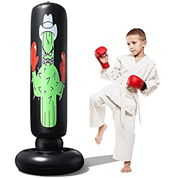 63Inch NTR Inflatable Punching Bag for Kids Adults Kids Punching Bag with Stand for Practicing Kickboxing MMA Karate Toddler Punching Bag for Garden Home Office Gym