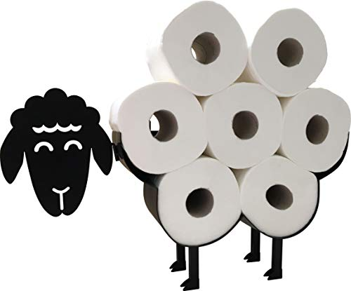 Cute Black Sheep Toilet Paper Roll Holder - Cool Novelty Free Standing or Wall Mounted Toilet Roll Tissue Paper Storage Stand & Holder   Bathroom Floor Decor Accessories   Best Gifts Idea - Neat Sheep