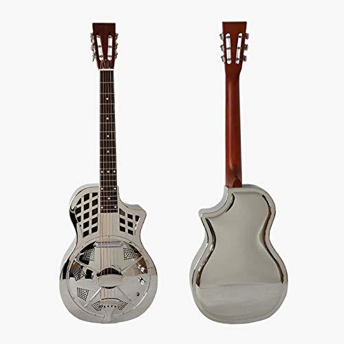 Florwesr Messing Elektrisch Parlor Resonator-Gitarre Mit Freiem Fall Und Gurt (Size : 38 inches)