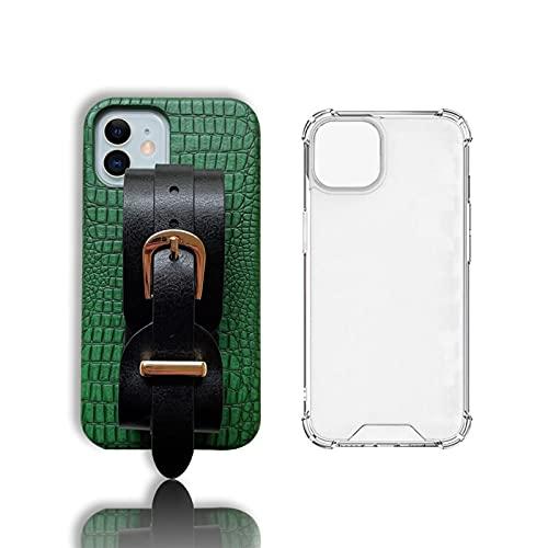 Estuche para teléfono con correa de cuero de imitación retro para iPhone 13 Pro Max 12 11 7 8 Plus X Xr Xs Max Fundas traseras de teléfono a prueba de golpes ( Color : 01 , Material : For iPhone 11 )