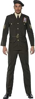 Mens Wartime Officer WW1 WW2 World War Military Uniform Historical Fancy Dress Costume Outfit M & L
