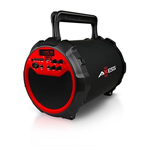 Axess SPBT1036RD Portable Indoor/Outdoor Bluetooth Hi-Fi Cylinder 2.1...