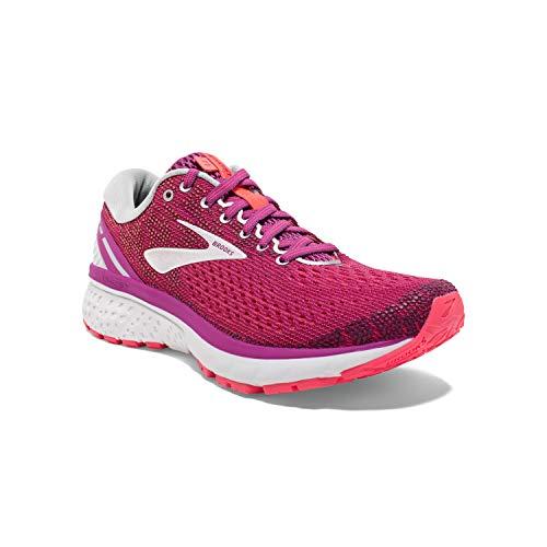 Brooks Womens Ghost 11 Running Shoe - Aster/Diva Pink/Silver - B - 6.0