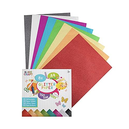 Basic Craft Glitzerpapier Set 8 Blatt DIN A4 150g glitzerndes Bastelpapier zum DIY Basteln | Perfekt für Bastelkunst und DIY Dekorationen geeignet | Tolles Glitzer Papier