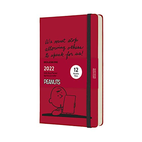 Moleskine Charlie Brown - Agenda Giornaliera 12 Mesi 2022, in Peanuts, con Copertina Rigida, Formato Large 13 x 21 cm, Rosso (Rosso Scarlatto)