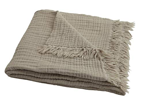 100% Organic Muslin Cotton Throw Blanket for Couch Adults, 4-Layer Plant Dyed Yarn, Soft Breathable Warm Cozy, Lightweight Bed Blanket, Everyday Use, All Season (55x60 Khaki/Light Tan)