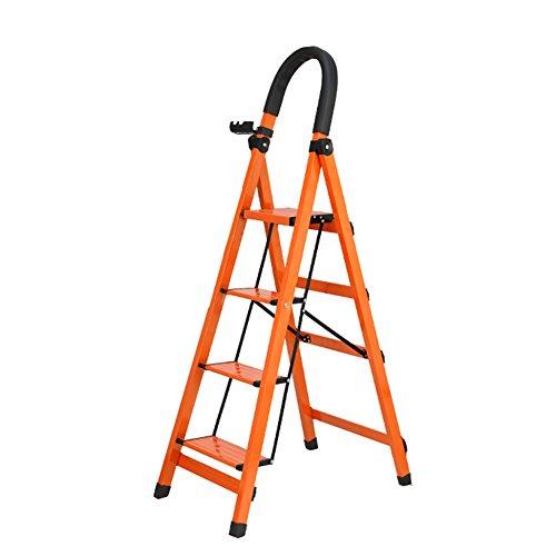 XuQinQin Folding Extension Ladder - Scaletta per scaletta Pieghevole Homewares per Adulti Pieghevole in Alluminio 3 4 5 Scaletta Scorrevole con Tappetino Antiscivolo e Serrature di Sicurezza scaletta