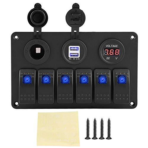 Panel de interruptores basculantes 12V 24V 6Gang LED Pantalla de voltímetro USB doble con encendedor de cigarrillos para coche barco marino(azul)