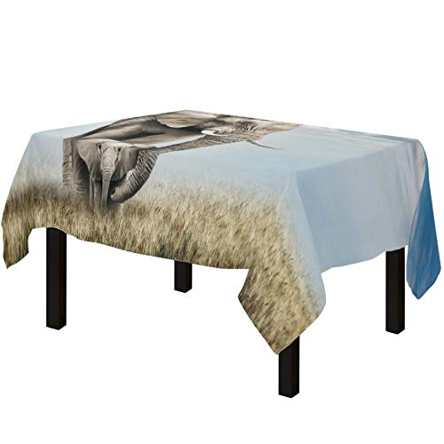 Yun Nist Tablecloths for Rectangle Table Grassland Lovely Animal Elephant Mom Protects Baby, Cotton Linen Fabric Table Cover Tabletop Cloth for Dining Room Kitchen, Blue Sky