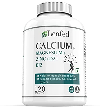 Leafed Calcium Magnesium Zinc Vitamin D & B12-120 Vegetarian Tablets- Bone Health and Joint Support…