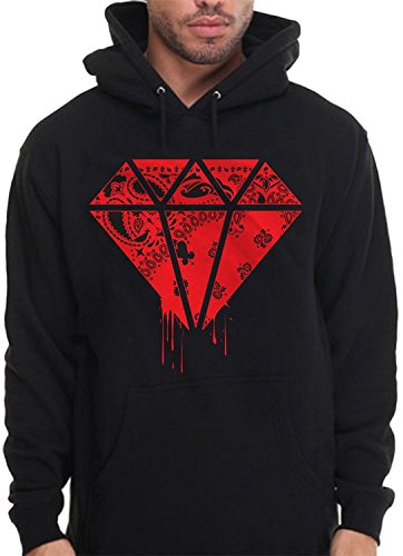 Diamond Shape Bandana Hoodie Pullover Sweatshirt Red Rag Print Drip Blood Money (2X - XXL - 2XL)