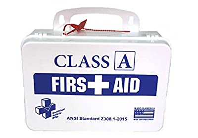 Certified Safety K615-011 16PW Class A First Aid Kit, ANSI Z308.1-2015, Plastic Case, White by Certified Safety MFG