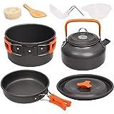 FSSQYLLX Juego de vajilla para Acampar Kit de Utensilios de Cocina para Acampar Hervidor de Utensilios de Cocina de Aluminio para Exteriores