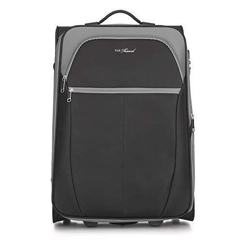 WITTCHEN Koffer – Mittelgroßer | Textil, material: polyester | hochwertiger und stabiler | Schwarz/Grau | 69 L | 63x32x42 cm