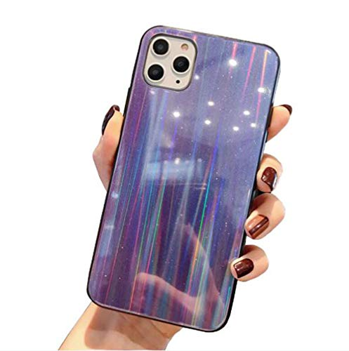 WODETIAN Transparent Aurora Gradient Color Case for Iphone 11/11 Pro/11 Pro Max Ultra Thin Tempered Glass Back Anti-Scratch TPU Bumper Shockproof Protective Case Cover,C,11