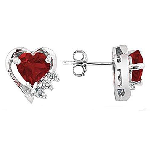 SLV Pendientes de corazón de 2,03 quilates con circonita cúbica de corte redondo y corazón chapados en oro blanco de 14 quilates