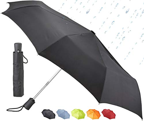 Lewis N. Clark Travel Umbrella: Windproof & Water Repellent with Mildew Resistant Fabric, Automatic Open Close, Black, One Size