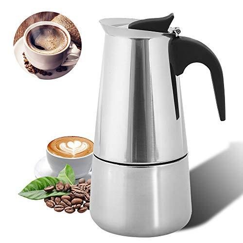Herdplatte Espressokocher Induktionskochfeld 6 Tassen (300 ml) Klassische Edelstahl-Kaffeekanne mit permanentem Filter und hitzebeständigem Griff für Zuhause und Büro