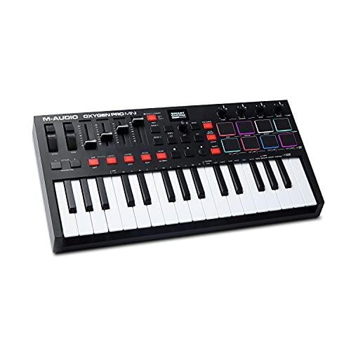 M-Audio Oxygen Pro Mini – 32 Key USB MIDI Keyboard Controller With Beat Pads, MIDI assignable Knobs, Buttons & Faders and Software Suite Included
