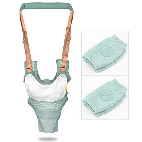ORANGEHOME Baby Walker Toddler Walking Harness Helper and 2 Knee Pads Adjustable Standing Up and Walking Learning Helper for Toddler 7-24 Month-Green