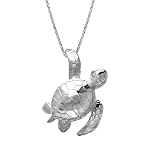 Sterling Silver Turtle Honu Necklace Pendant with 18″ Box Chain