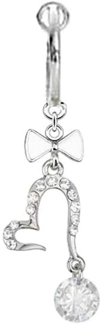 playful piercings Fake Belly Navel Non Clip on Clear cz Bow Heart gem dangle Ring