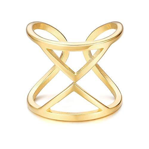 RVXZV Sanduhr Damen Gold Farbe Ring Edelstahl Hohl Sandglas Design Unregelmäßige Mode Charm Rings Schmuck 7