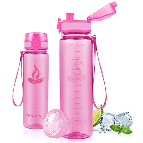 Baomay Botella de Agua Deportiva 500ml 750ml 1000ml, Adultos/Niños Bottle con Filtro, Bidon de Bebidas Plástico Tritan, para Gimnasio, Ciclismo, Trekking | Sin-BPA & Impermeable & Reut